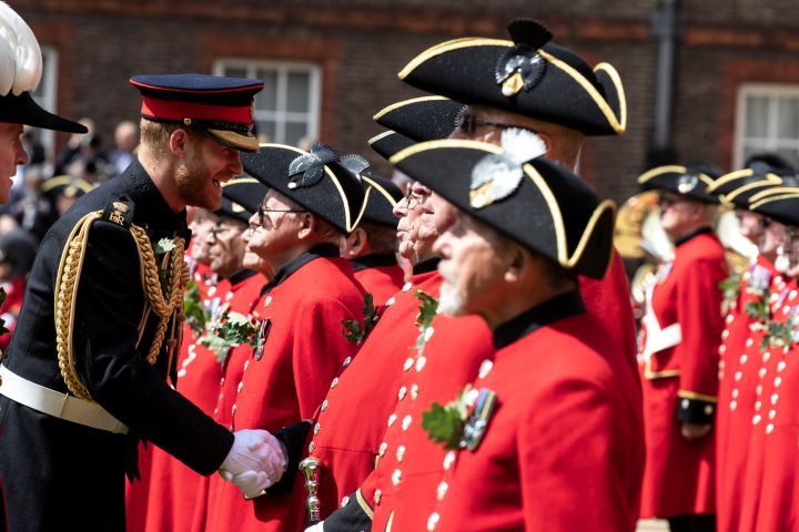 Britain's Prince Harry reviews Chelsea Pensioners during the Founder's Day Parade at the Royal Hospital Chelsea in London, Britain June 6, 2019. Heathcliff O'Malley/Pool via Reuters