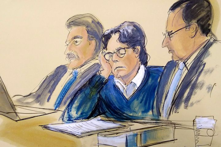 In this courtroom artist's sketch, defendant Keith Raniere (middle) sits with lawyers Paul DerOhannesian (L), and Marc Agnifilo during closing arguments at Brooklyn federal court on June 18, 2019 in New York.