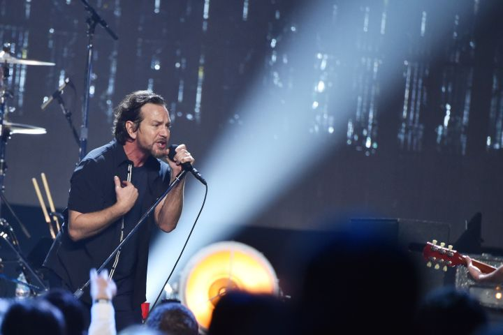Mandatory Credit: Photo by Stephen Lovekin/Variety/Shutterstock (8586772dp) Eddie Vedder from Pearl Jam 2017 Rock and Roll Hall of Fame Induction Ceremony, Show, New York, USA - 07 Apr 2017 Barclays Center