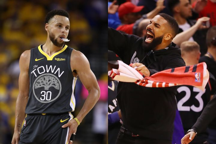 Steph Curry, Drake. Photo: Getty Images