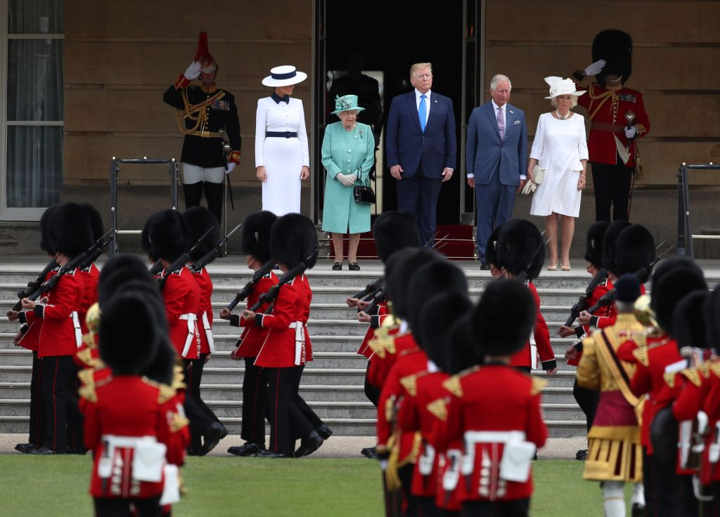 U.S. President Donald Trump and First Lady Melania Trump attend a welcome ceremony with Britain's Queen Elizabeth, Prince Charles and Camilla, Duchess of Cornwall, at Buckingham Palace, in London, Britain, June 3, 2019. REUTERS/Simon Dawson/Pool