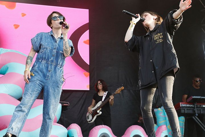 Sara Quin and Tegan Quin of Tegan and Sara perform onstage during Day 1 of The Meadows Music & Arts Festival at Citi Field on Sept. 15, 2017 in New York City.