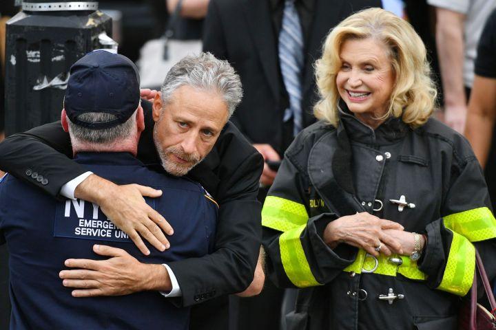 Mandatory Credit: Photo by Erik Pendzich/Shutterstock (10327123g) Jon Stewart and Congresswoman Carolyn B. Maloney 9/11 First Responder Luis Alvarez funeral, New York, USA - 03 Jul 2019