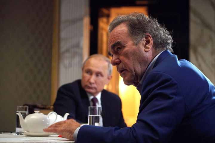 Photo by ALEXEY DRUZHINYN/SPUTNIK/KREMLIN POOL/EPA-EFE/Shutterstock (10342186d) Oliver Stone (R) interviews Russian President Vladimir Putin for his Revealing Ukraine documentary at the Kremlin in Moscow, Russia, late 19 July 2019.