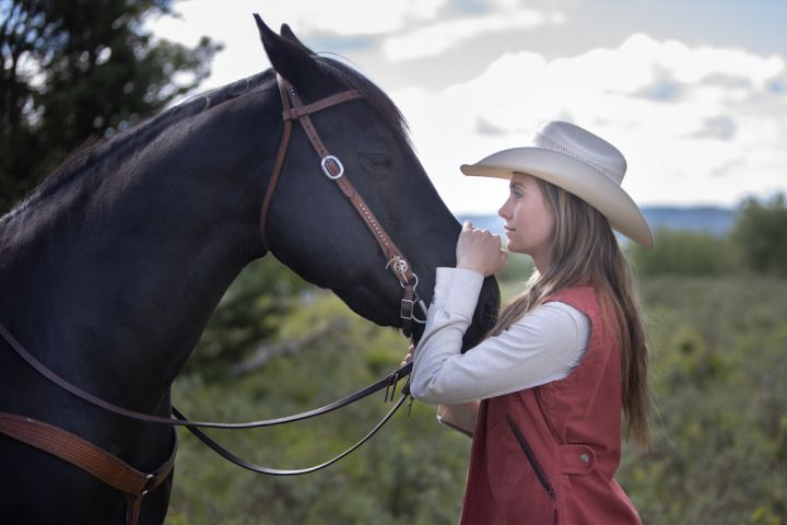 The bond between Amy and Spartan – Amy Fleming played by Amber Marshall with her equine co-star, Spartan (Stormy).