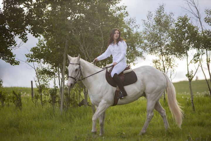 Georgie and Phoenix – Georgie, played by Alisha Newton with her equine co-star, Phoenix.