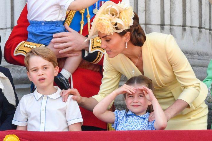 Prince George, Princess Charlotte, Duchess Kate. Photo: Tim Rooke/Shutterstock