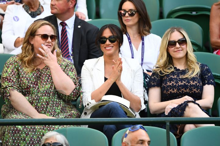 Meghan Markle with friends at Wimbledon. Photo: Javier Garcia/BPI/Shutterstock