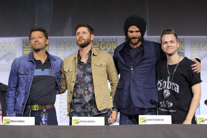 Supernatural -  Misha Collins, Jensen Ackles, Jared Padalecki and Alexander Calvert - Photo by Chelsea Lauren/Variety/Shutterstock