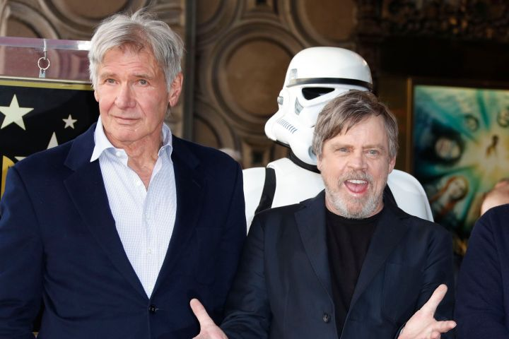Harrison Ford and Mark Hamill. Photo: Mike Nelson/EPA-EFE/Shutterstock