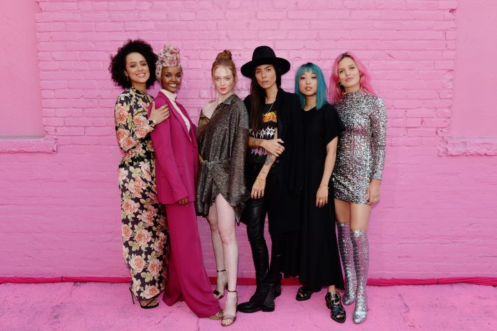 Nathalie Emmanuel, Halima Aden, Larsen Thompson, Tasya Van Ree, Margaret Zhang and Georgia May Jagger attend Pandora Street Of Loves in Los Angeles.  Photo: Andrew Toth/Getty Images for Pandora