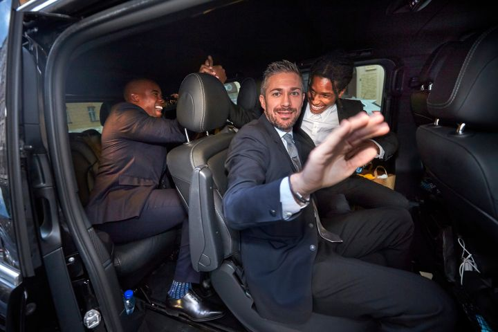 ASAP Rocky (R) leaves the district court in Stockholm by car.  Photo Fredrik Persson / TT / code 1081