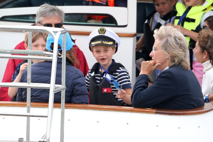 COWES, ENGLAND - AUGUST 08:  Prince George watches the inaugural King's Cup regatta hosted by the Duke and Duchess of Cambridge on August 08, 2019 in Cowes, England. (Photo by Chris Jackson/Getty Images)
