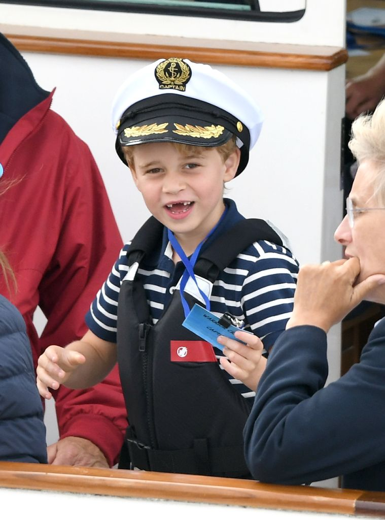 COWES, ENGLAND – AUGUST 08: Prince George attends the King's Cup Regatta on August 08, 2019 in Cowes, England. (Photo by Karwai Tang/WireImage)