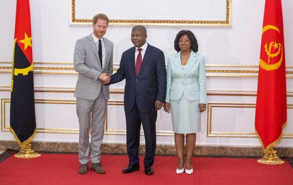 Prince Harry Meets Angola's President Joao Lourenco and First Lady Ana Dias Lourenco
