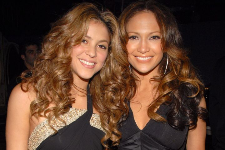 Shakira and Jennifer Lopez. Photo by Theo Wargo/WireImage for The Recording Academy