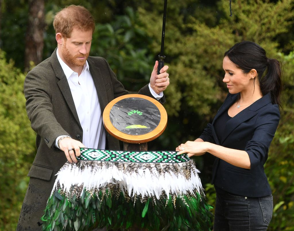 The Duke and Duchess of Sussex visit the North Shore to dedicate a 20-hectare area of native bush to The Queens Commonwealth Canopy. Photo by Pool/Samir Hussein/WireImage