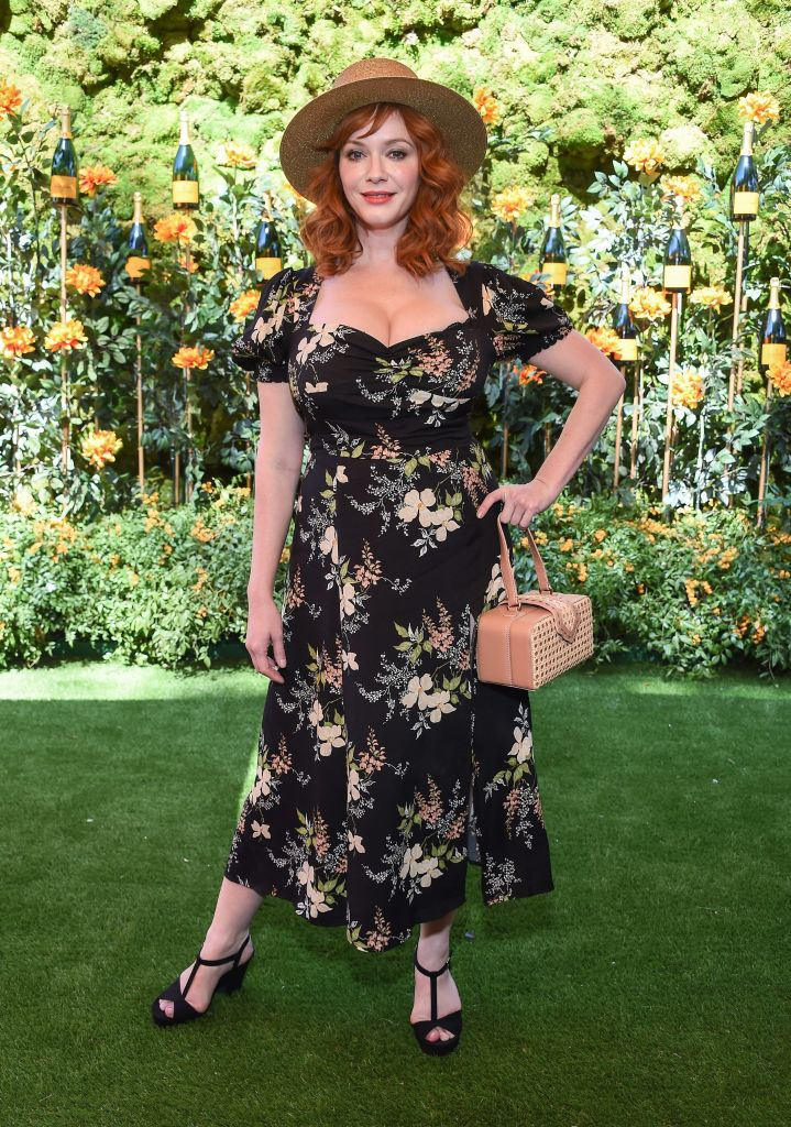 Christina Hendricks arriving to the Veuve Clicquot Polo Classic 2019 at Will Rogers State Park on October 05, 2019 in Pacific Palisades.