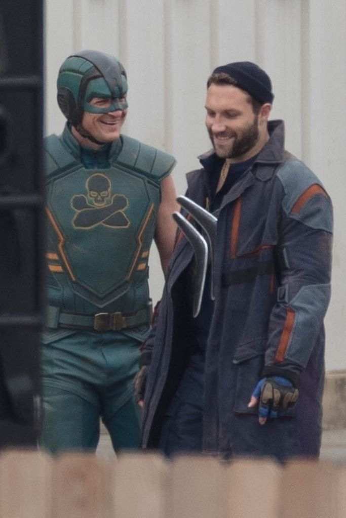 Nathan Fillion as Arms-Fall-Off-Boy in green, Jai Courtney as Captain Boomerang – BACKGRID USA