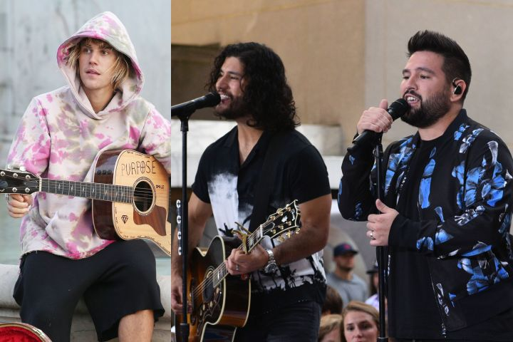 Justin Bieber, Dan Smyers and Shay Mooney. Photo: Shutterstock