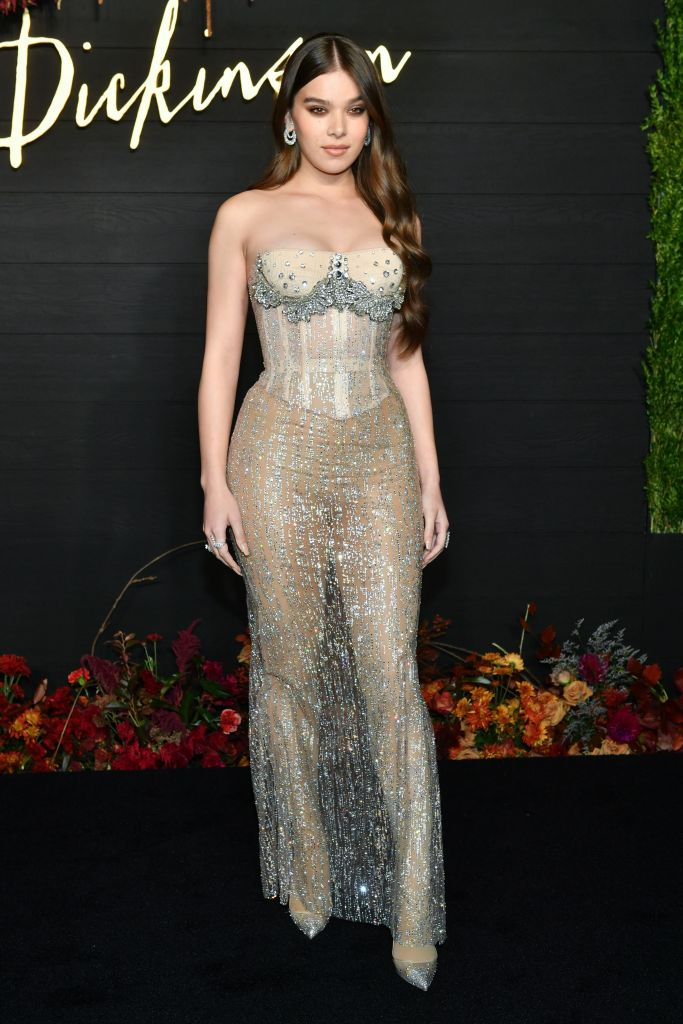 "Everyone was left breathless by Hailee Steinfeld at the ""Dickinson"" premiere in New York when she showed up in this silver corset dress with sheer skirt."