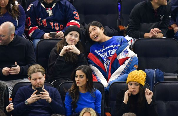 Ellen Page Enjoys NY Rangers Game With Friend
