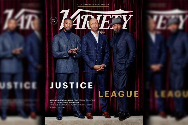 Michael B. Jordan, Bryan Stevenson, Jamie Foxx. Photo: Variety