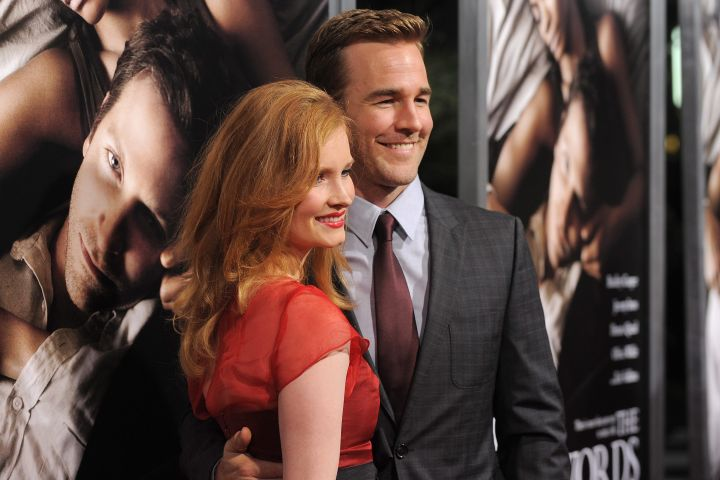 Kimberly Brook, left, and James Van Der Beek. Photo by Jordan Strauss/Invision/AP