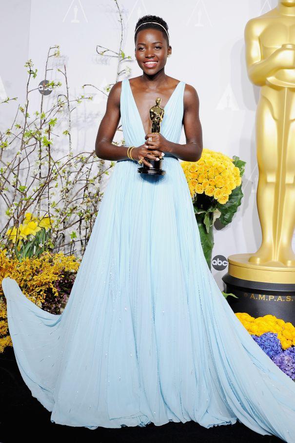 Lupita Nyong'o In Blue At The 2014 Academy Awards