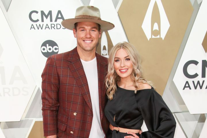 Mandatory Credit: Photo by Matt Baron/Shutterstock (10474303ds) Colton Underwood and Cassie Randolph 53rd Annual CMA Awards, Arrivals, Bridgestone Arena, Nashville, USA - 13 Nov 2019