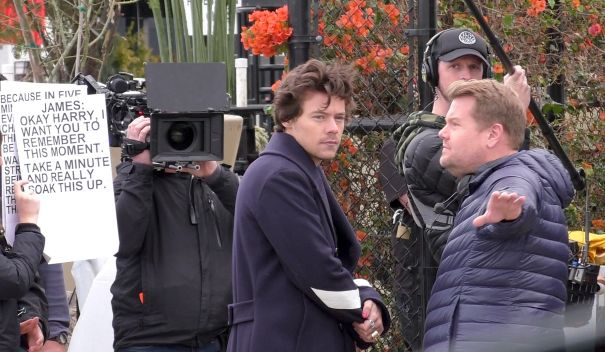 Harry Styles And James Corden Film In L.A