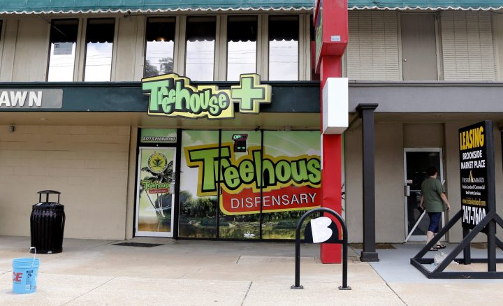 FILE PHOTO: This July 22, 2019 file photo shows Treehouse Dispensary's storefront location in Tulsa, Okla.
