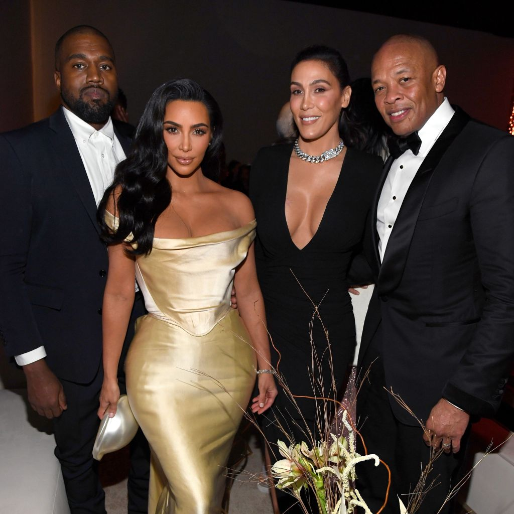 L-R: Kanye West, Kim Kardashian West, Nicole Young and Dr. Dre attend Sean Combs 50th Birthday Bash presented by Ciroc Vodka on December 14, 2019 in Los Angeles, California. (Photo by Kevin Mazur/Getty Images for Sean Combs)