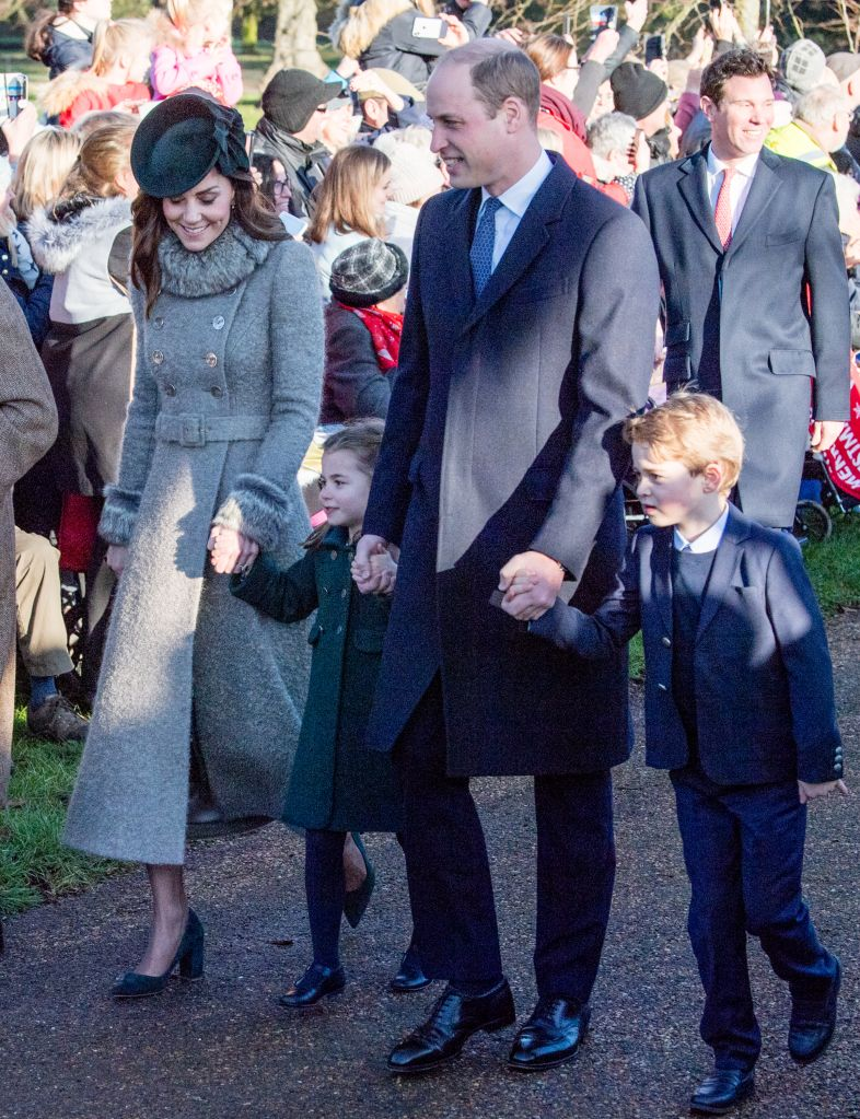 KING'S LYNN, ENGLAND – DECEMBER 25: Prince William, Duke of Cambridge, Prince George of Cambridge, Catherine, Duchess of Cambridge and Princess Charlotte of Cambridge attend the Christmas Day Church service at Church of St Mary Magdalene on the Sandringham estate on December 25, 2019 in King's Lynn, United Kingdom. (Photo by Pool/Samir Hussein/WireImage)
