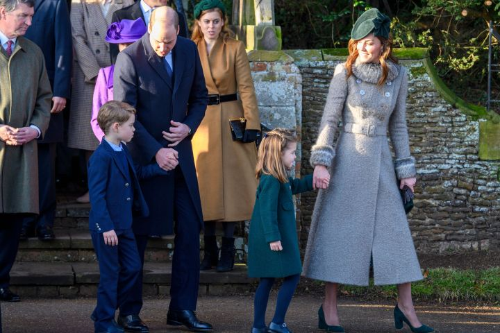 Prince George, Prince William, Princess Charlotte, Duchess Catherine. Photo by Tim Rooke/Shutterstock