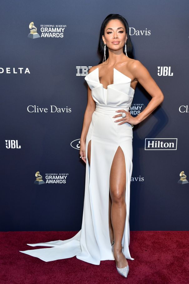 Nicole Scherzinger Dazzles In White At Pre-Grammy Gala