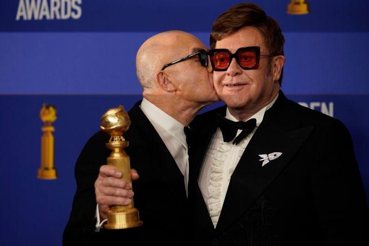 Bernie Taupin and Elton John. Photo: REUTERS/Mike Blake