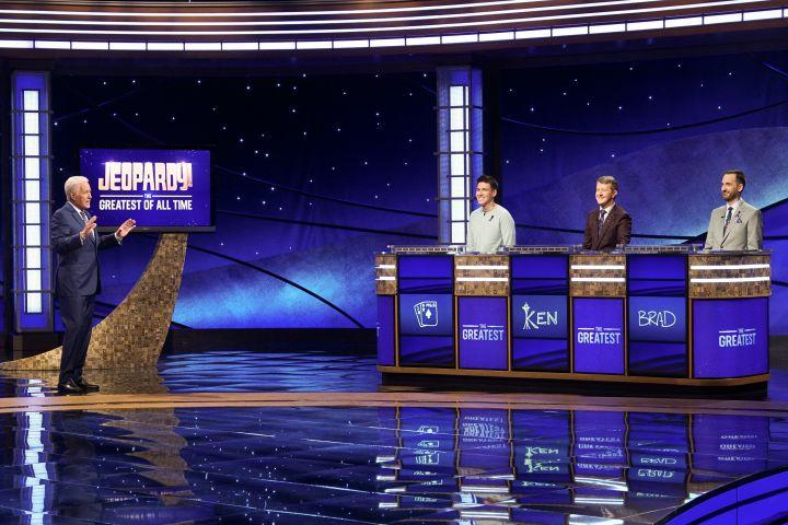 Host Alex Trebec, left, appears with contestants, James Holzhauer, Ken Jennings and Brad Rutter - Photo: Eric McCandless/ABC via AP