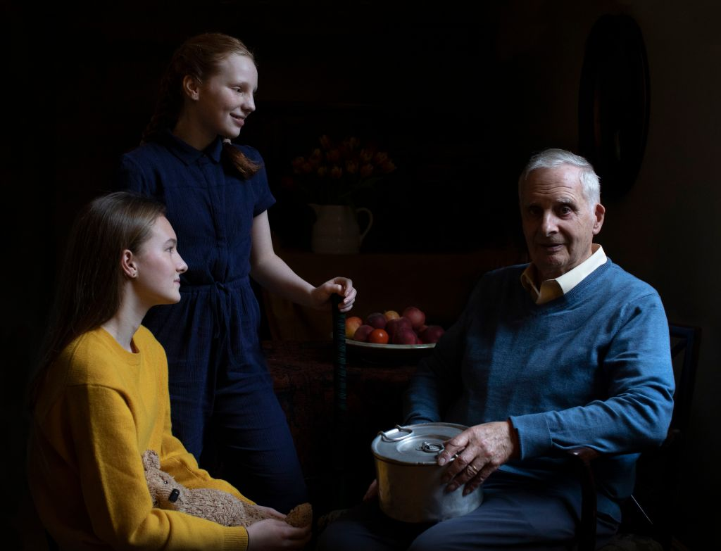 Steven Frank BEM alongside his granddaughters Maggie and Trixie Fleet. (Photo by The Duchess of Cambridge/Royal Photographic Society via Getty Images)