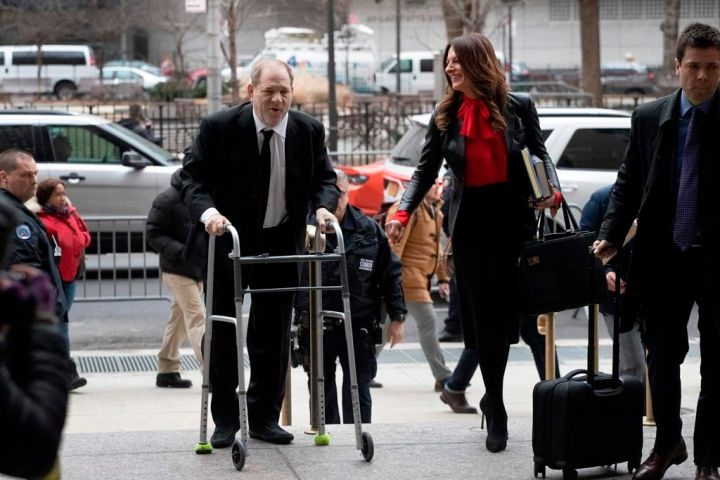 Harvey Weinstein arrives at court with his attorney Donna Rotunno to attend jury selection for his sexual assault trial, Friday, Jan. 10, 2020 in New York.