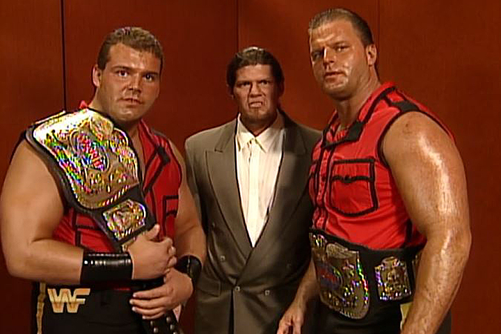 Carl Ouellet and Jacques Rougeau as the dastardly Quebecers in the WWE. Courtesy: WWE.
