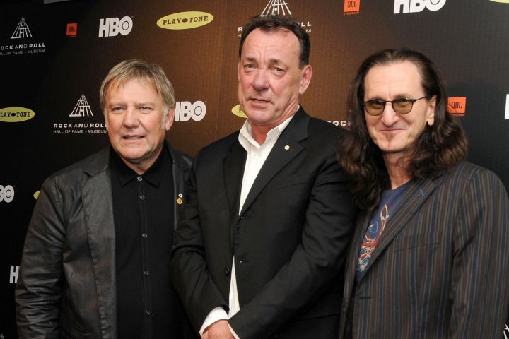 Rush - Alex Lifeson, Neil Peart, Geddy Lee 28th Annual Rock and Rock Hall of Fame Induction Ceremony, Los Angeles, America - 19 Apr 2013 - Broadimage/Shutterstock