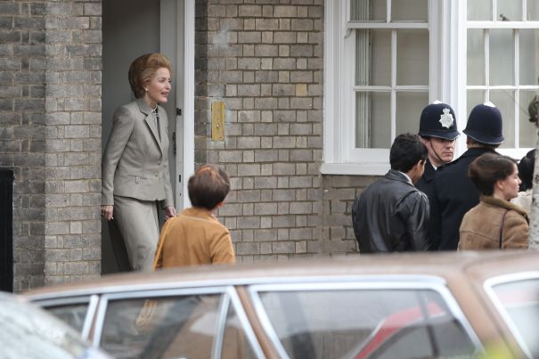 Gillian Anderson Steps Out On 'The Crown' Set