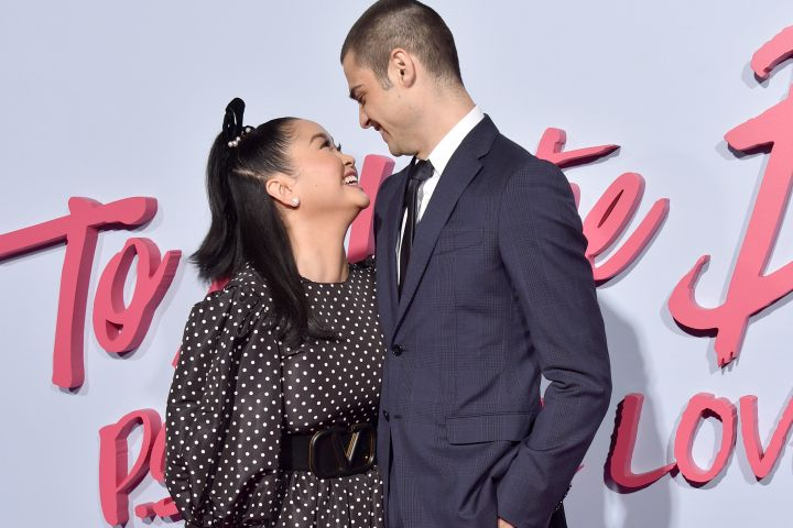 """""""To All The Boys: P.S. I Still Love You"""" co-stars Lana Condor and Noah Centineo only have eyes for each other as they pose side by side at the film's premiere in Hollywood."""