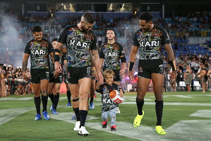 GOLD COAST, AUSTRALIA – FEBRUARY 22: Quaden Bayles runs onto the field before the NRL match between the Indigenous All-Stars and the New Zealand Maori Kiwis All-Stars at Cbus Super Stadium on February 22, 2020 on the Gold Coast, Australia. (Photo by Jason McCawley/Getty Images)