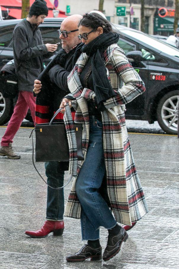 Demi Moore Sporting Stylish Plaid Coat
