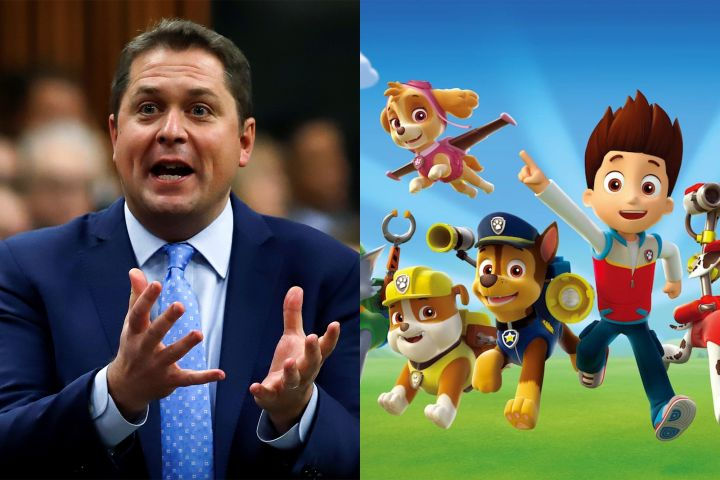 """Andrew Scheer/""""Paw Patrol"""". Photo: REUTERS/Patrick Doyle // Spin Master Entertainment"""