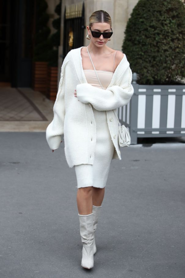 Hailey Bieber Decked Out In White