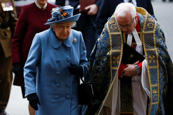 Britain's Queen Elizabeth II arrives for the annual Commonwealth Service at Westminster Abbey in London, Britain March 9, 2020. REUTERS/Henry Nicholls