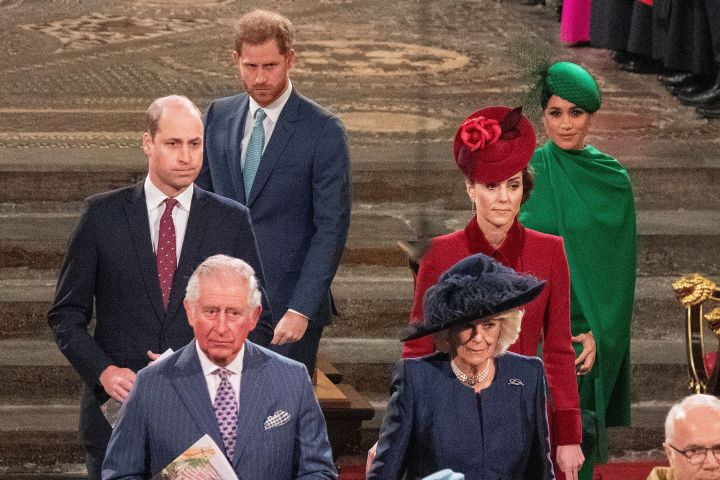 Britain's Queen Elizabeth II, Prince Charles, Camilla, Duchess of Cornwall, Prince William and Catherine, Duchess of Cambridge, Prince Harry and Meghan, Duchess of Sussex attend the annual Commonwealth Service at Westminster Abbey in London, Britain March 9, 2020. Phil Harris/Pool via REUTERS